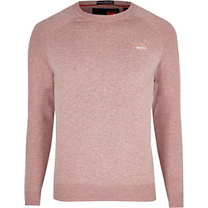Superdry pink logo embroidered jumper