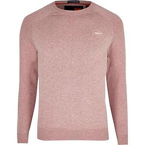 Superdry – Pull rose avec logo brodé