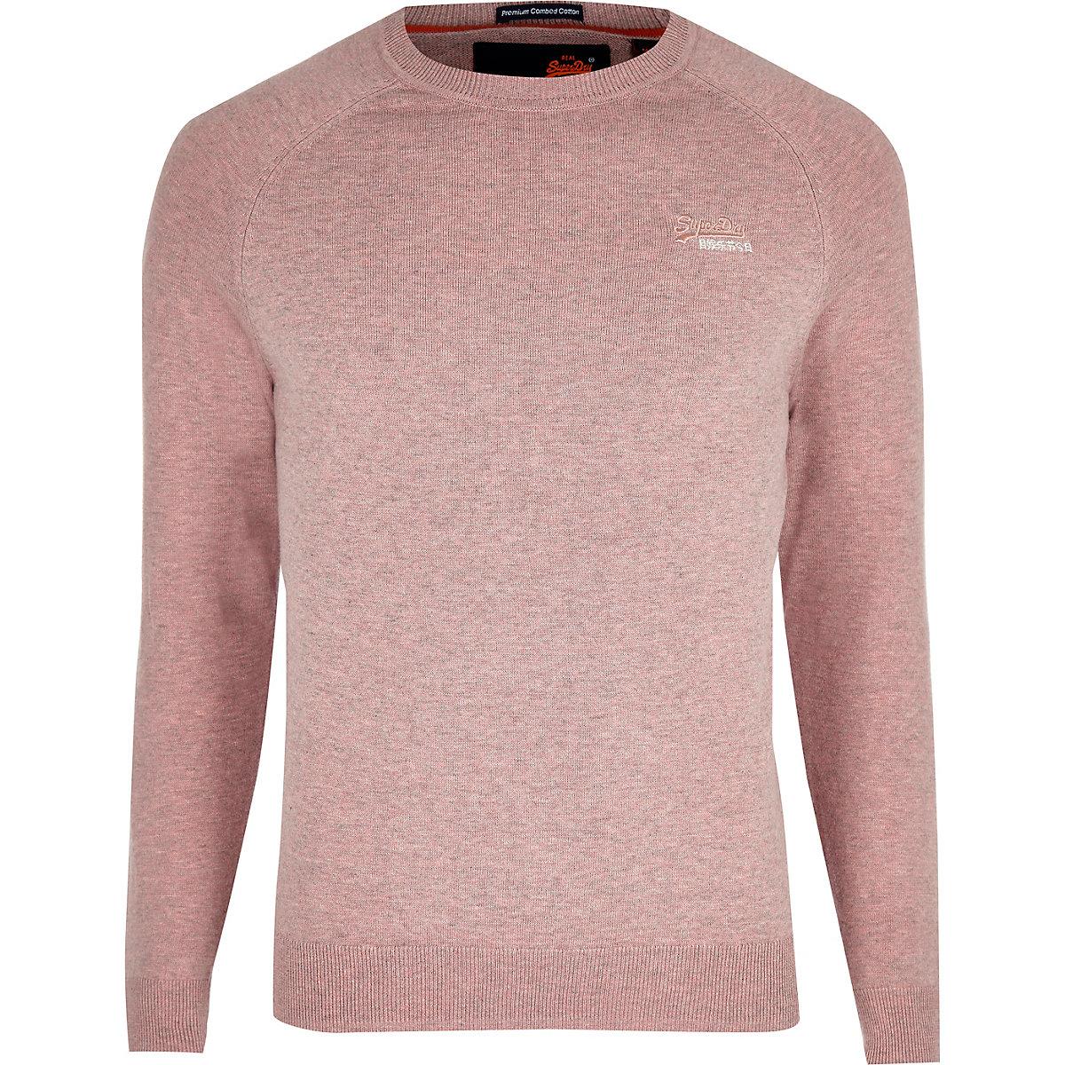 Superdry pink logo embroidered jumper
