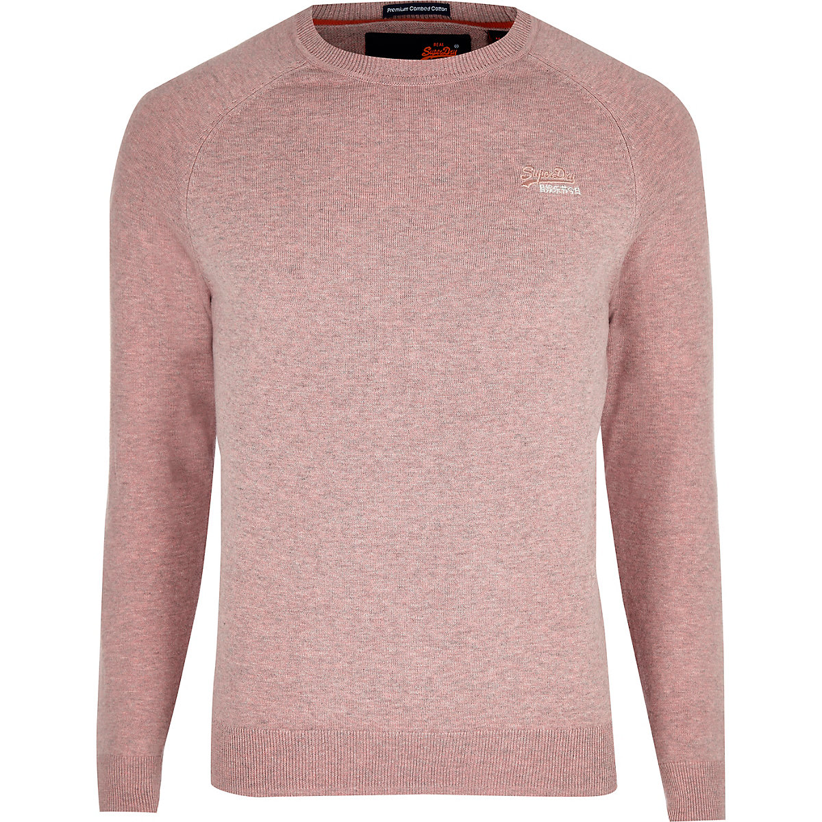 Superdry pink logo embroidered sweater