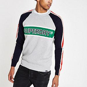 Superdry - Grijze pullover met kleurvlakken