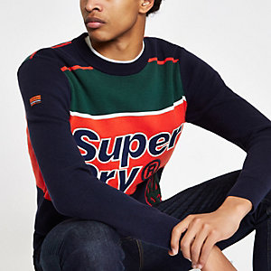 Superdry – Pull colour block bleu marine