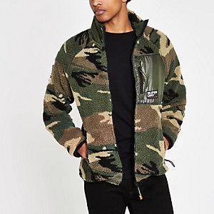 Superdry – Grüne Fleecejacke mit Camouflage-Muster