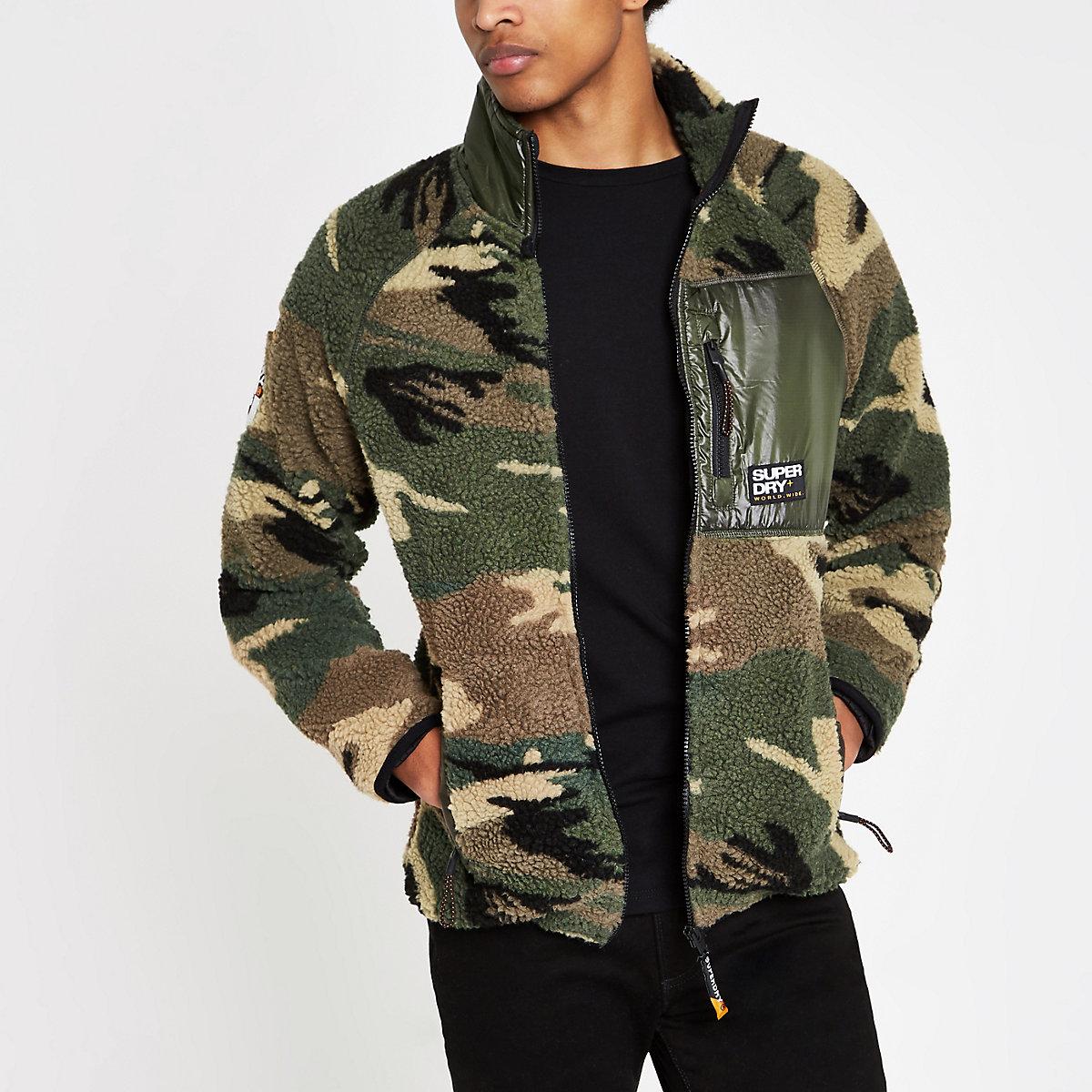 Superdry green camo zip up fleece jacket