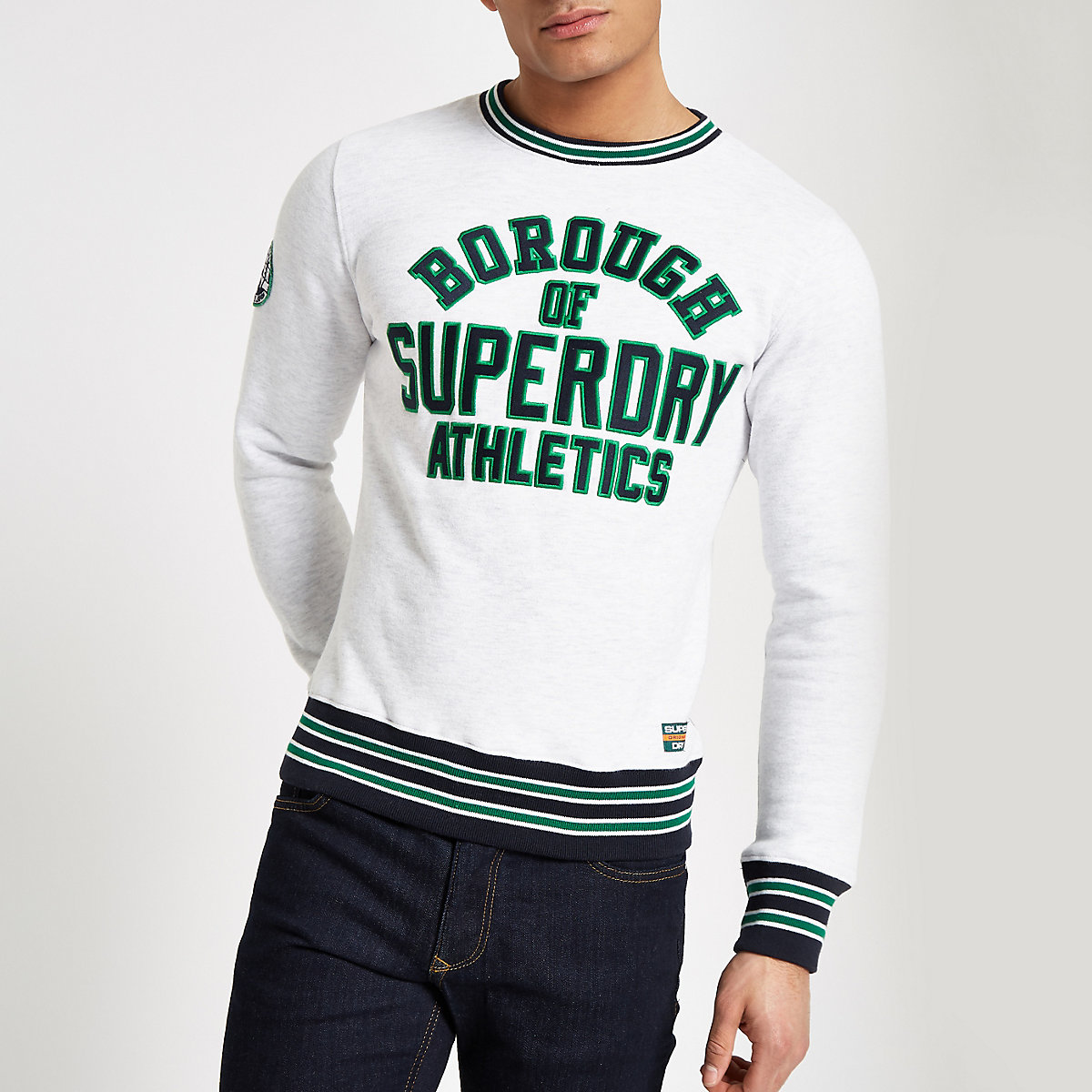 Superdry grey tipped crew neck sweater