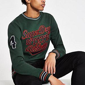 Superdry - Groene pullover met contrasterend randje en ronde hals
