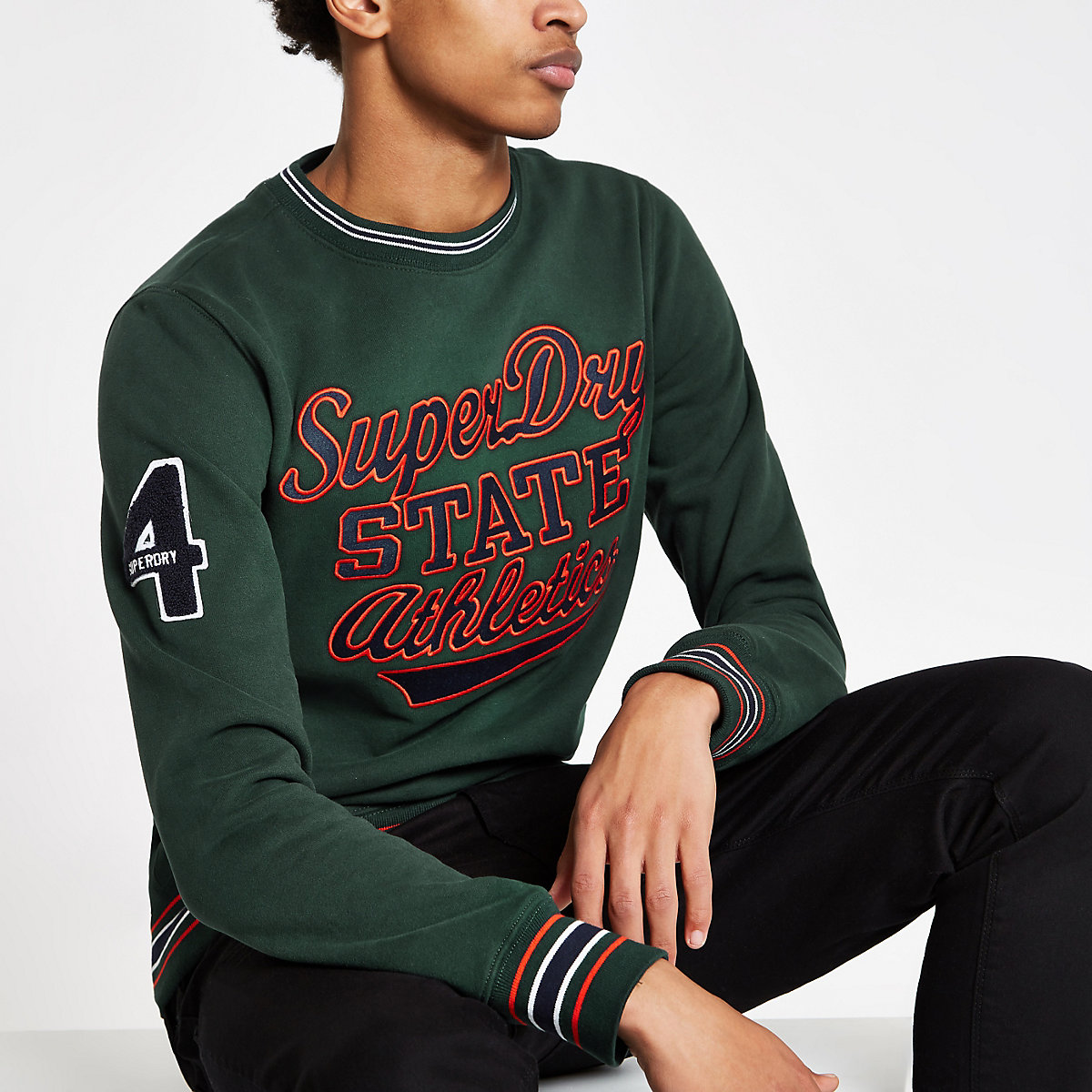 Superdry green tipped crew neck sweater