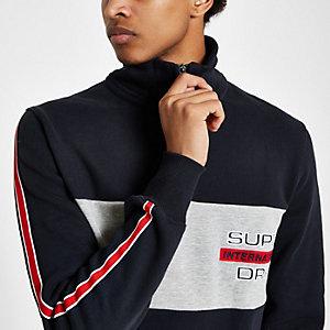 Superdry - Marineblauw sweatshirt met opstaande kraag en kleurvlakken