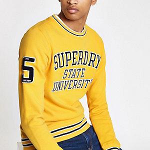 Superdry - Gele pullover met contrasterend randje en ronde hals
