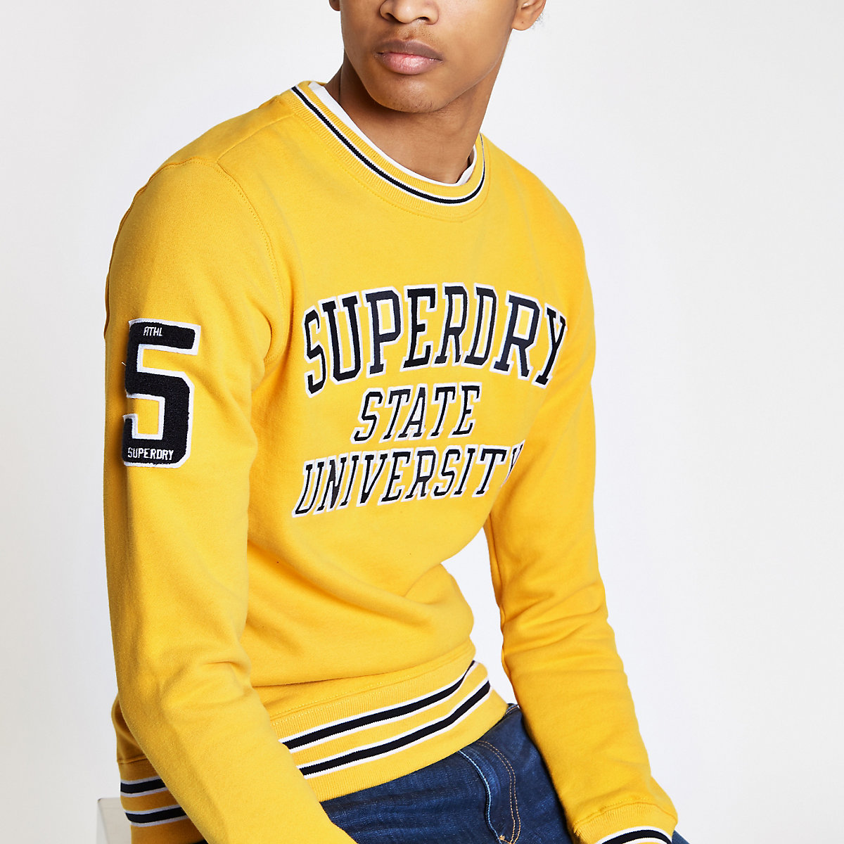Superdry yellow tipped crew neck sweater