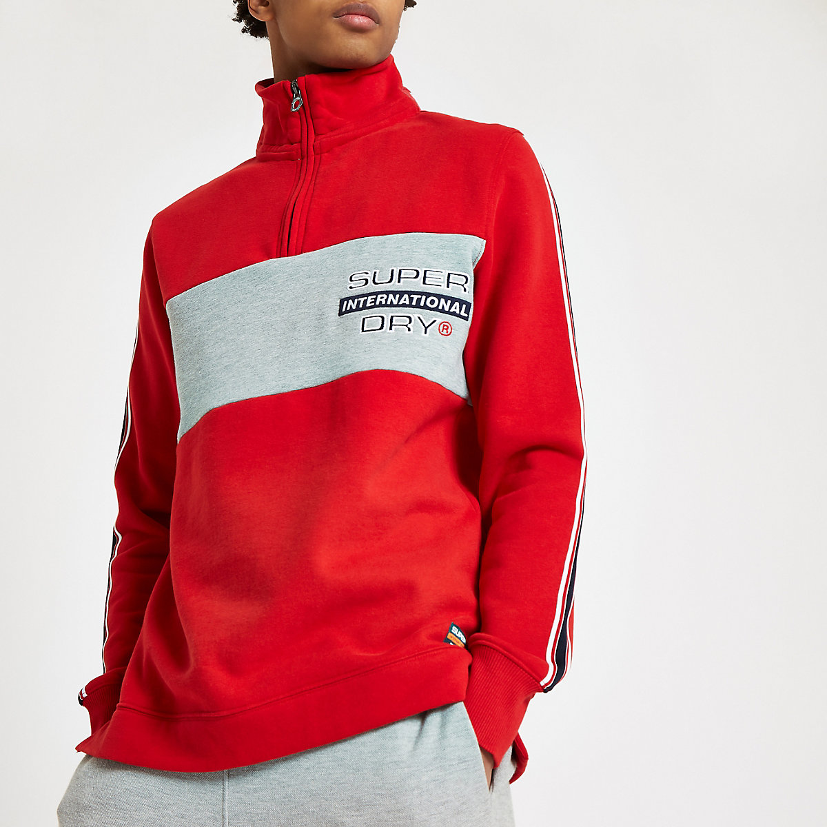 Superdry red zip funnel neck sweatshirt