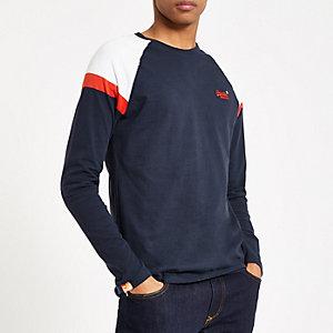 Superdry - Marineblauw T-shirt met lange mouwen