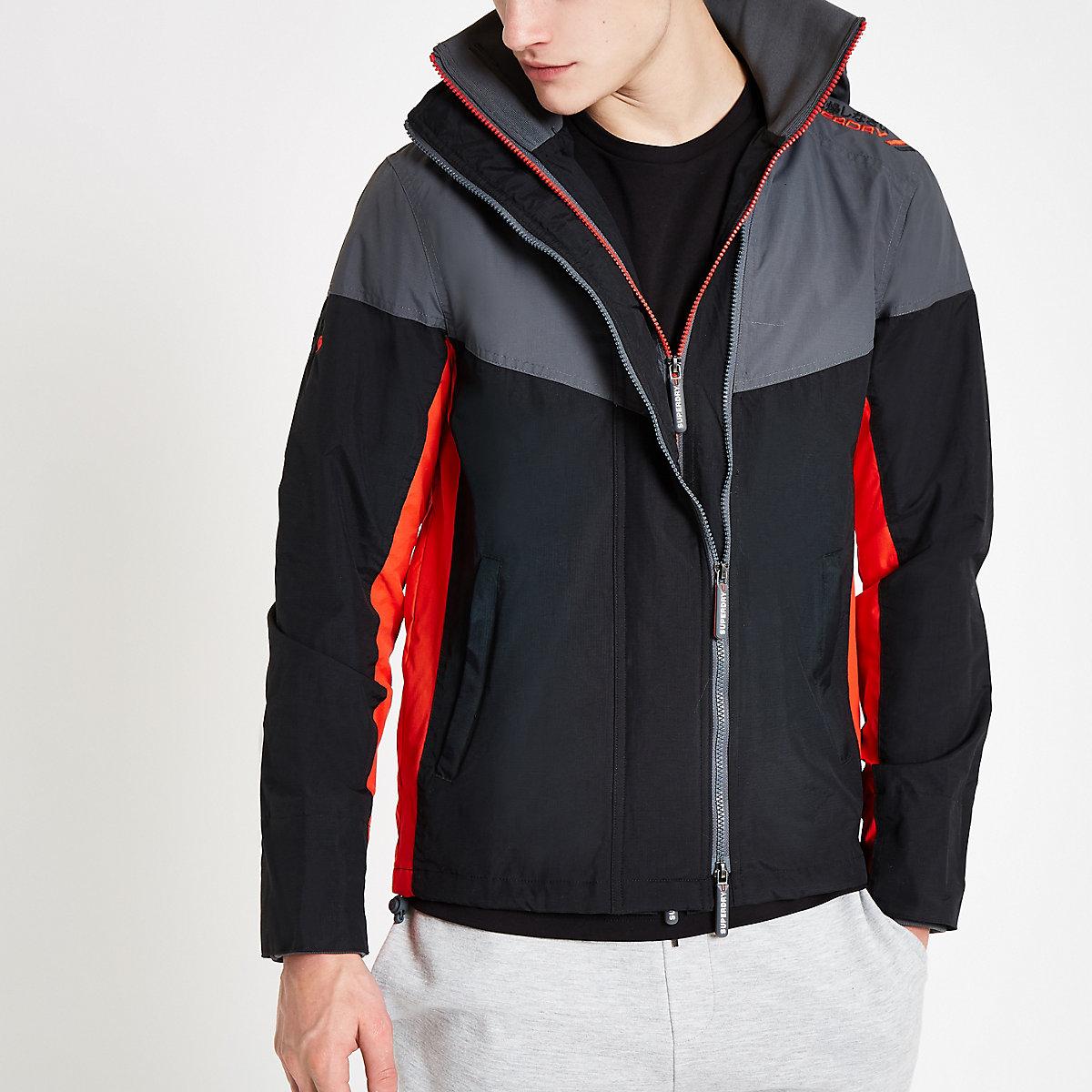 Superdry black hooded zip-up jacket