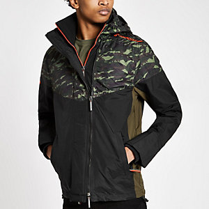 Superdry khaki camo hooded zip-up jacket