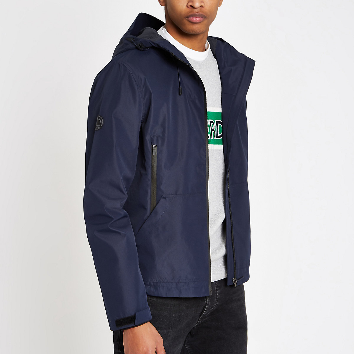 Superdry blue lightweight hooded jacket