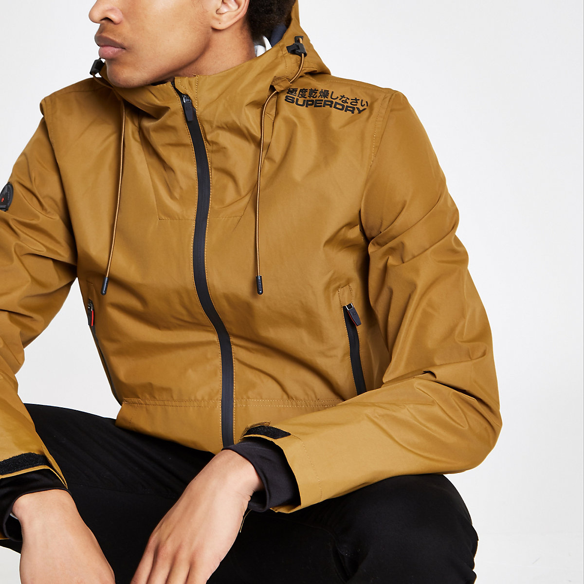 Superdry yellow lightweight hooded jacket