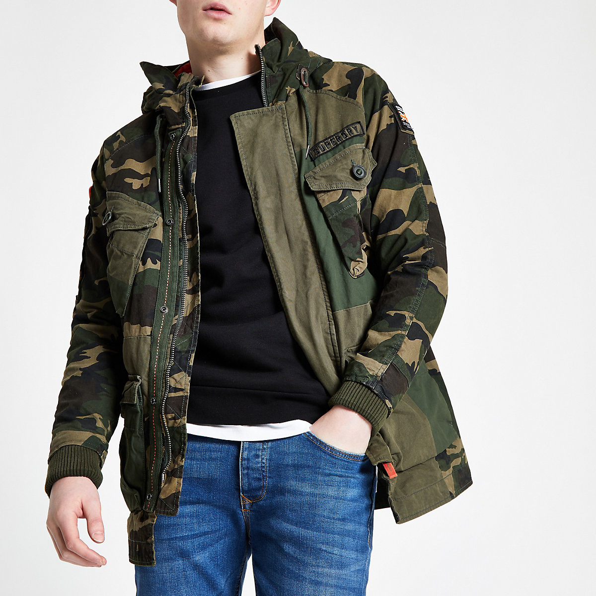 Superdry green camo parka jacket