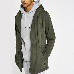 Superdry green hooded parka jacket