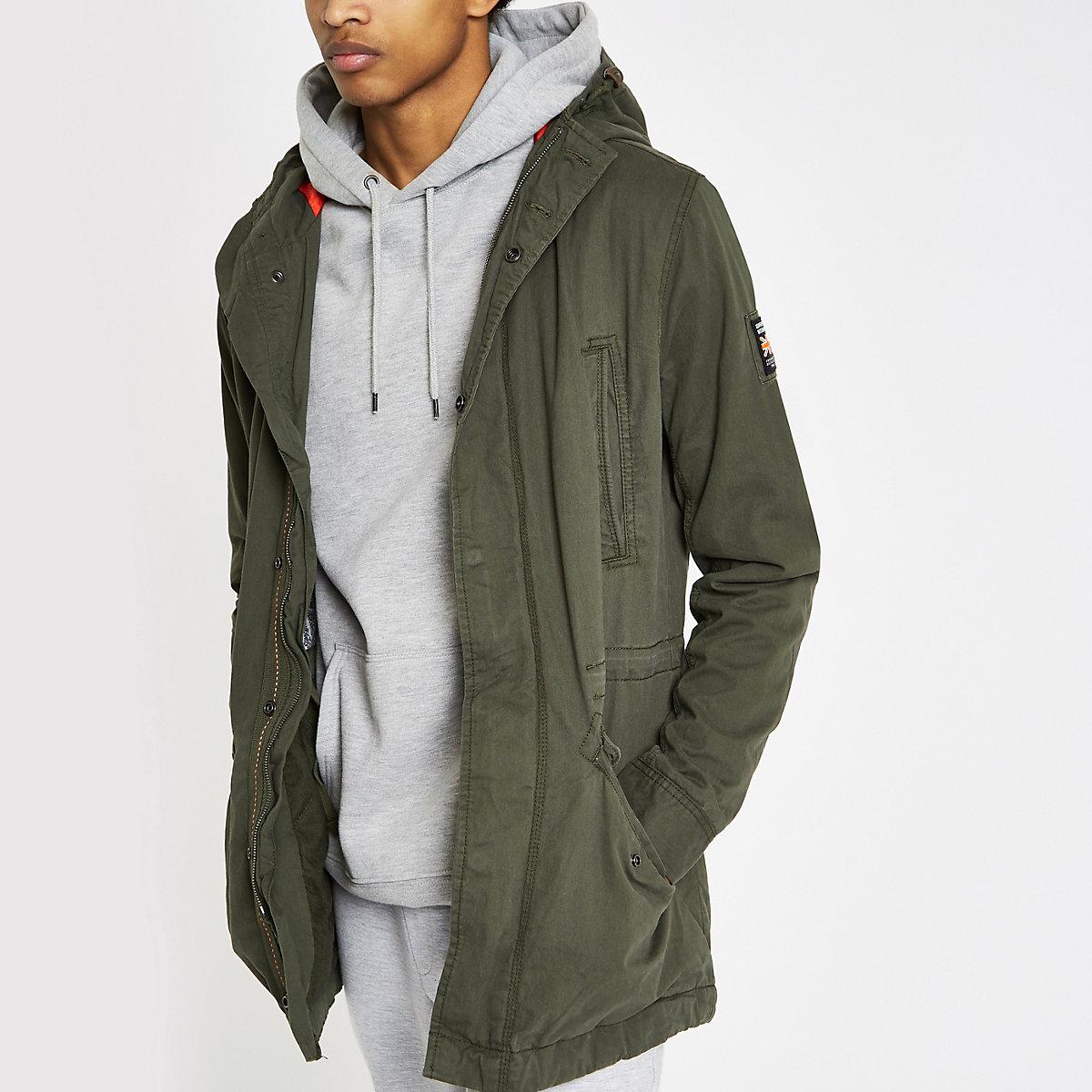 Superdry green hooded parka jacket
