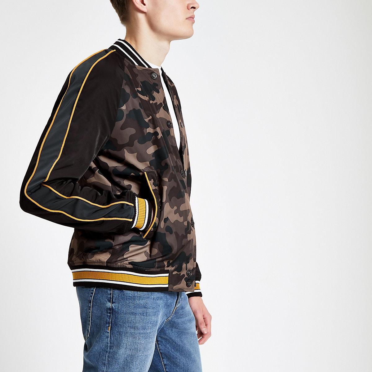Superdry brown camo baseball jacket