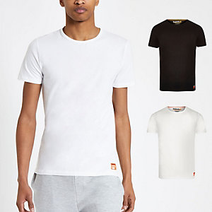 Superdry – Weißes Slim Fit T-Shirt, 2er-Pack