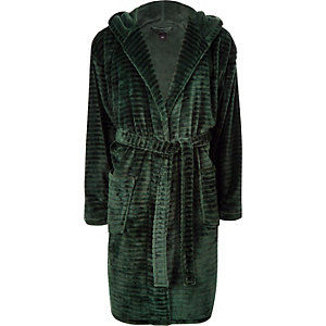 Groene fleece badjas met 'R96'-print