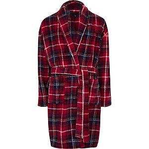 Rode geruite fleece badjas met 'R96'-print