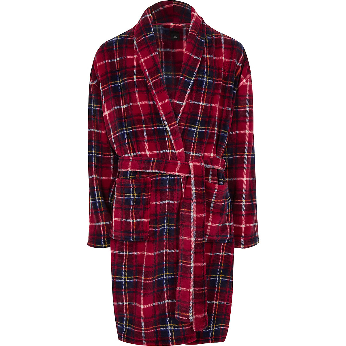 Red check 'R96' fleece dressing gown