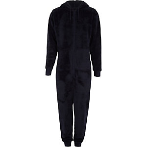 Navy fleece hooded onesie