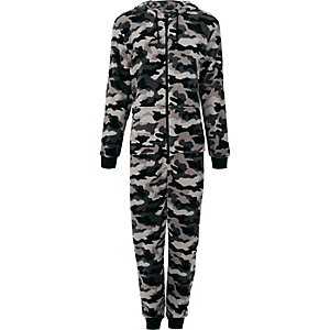 Grey fleece camo print hooded onesie