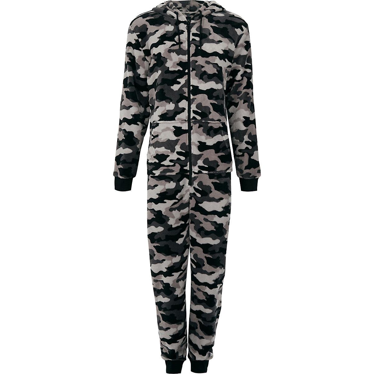 Grey fleece camo print hooded onesie