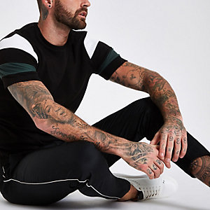 Black slim fit interlock crew neck