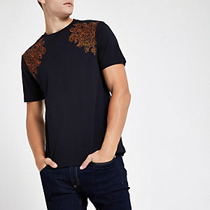 RI 30 navy slim fit embroidered T-shirt