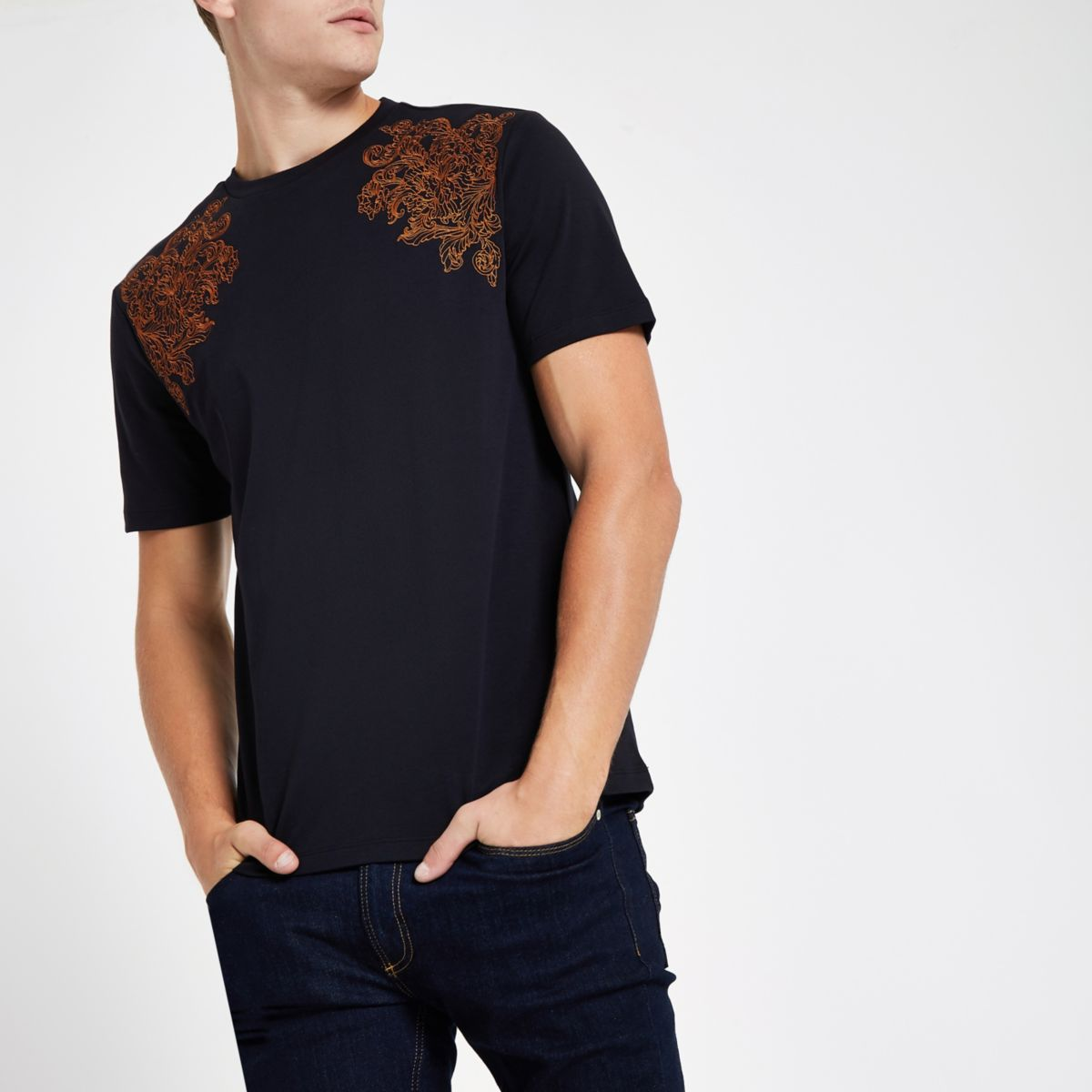 slim T RI embroidered shirt navy fit 30 WPqW4wzx8p