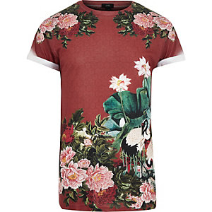 T-shirt ras du cou rouge foncé à fleurs