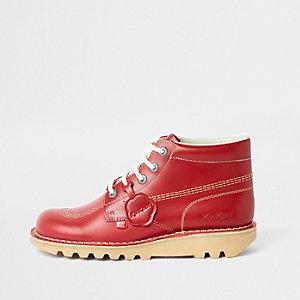 Kickers – Bottines en cuir rouges à lacets