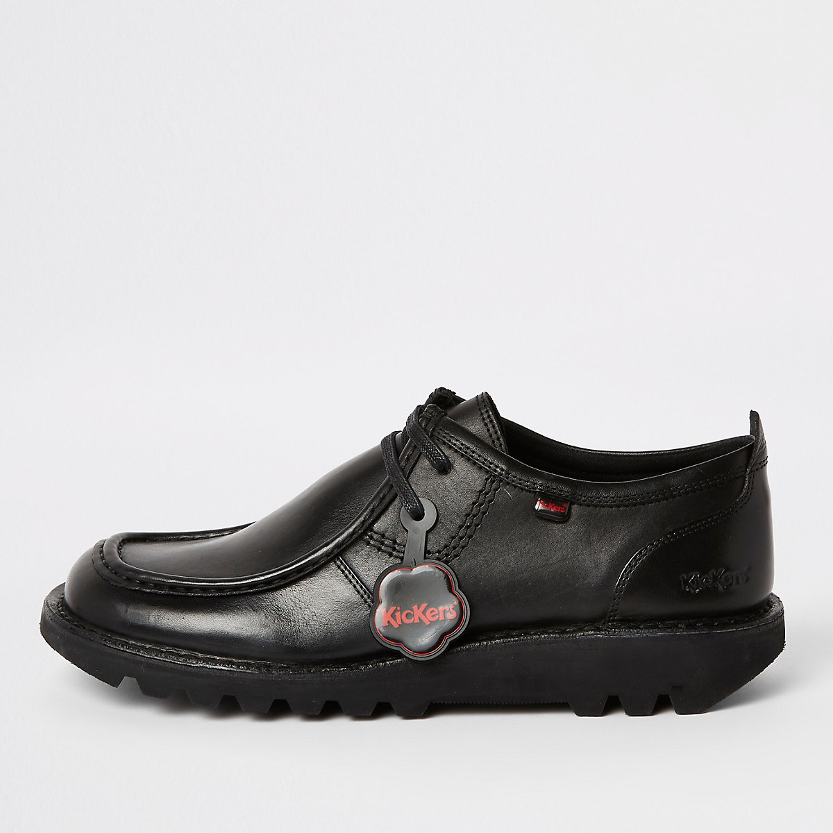 Kickers black leather low top shoes