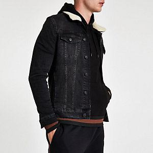 Black fleece collar muscle fit denim jacket