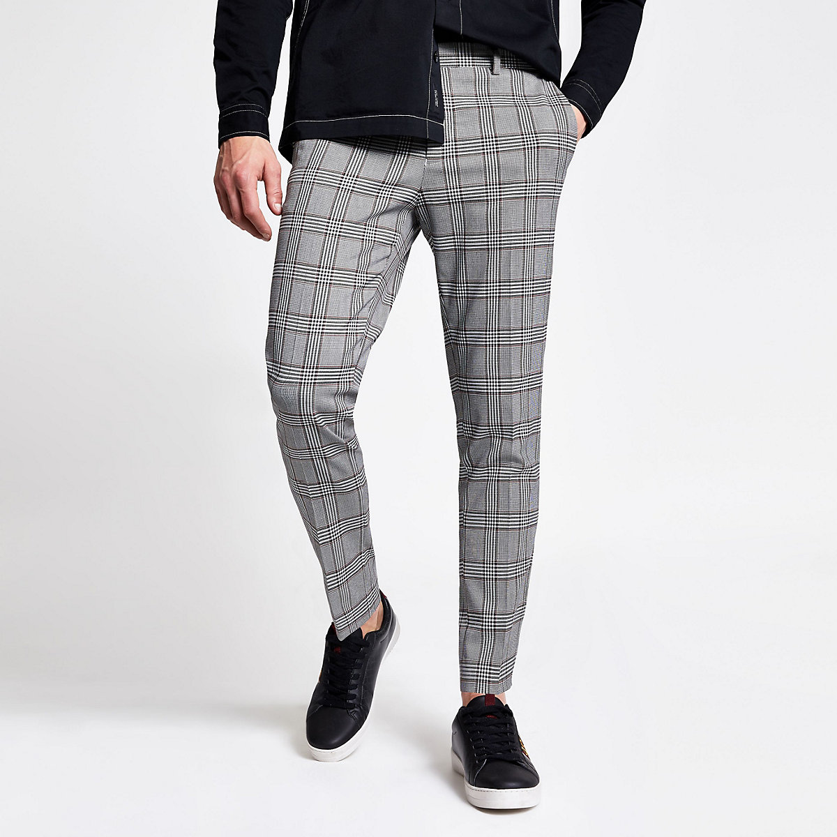 Grey check ultra skinny crop fit trousers