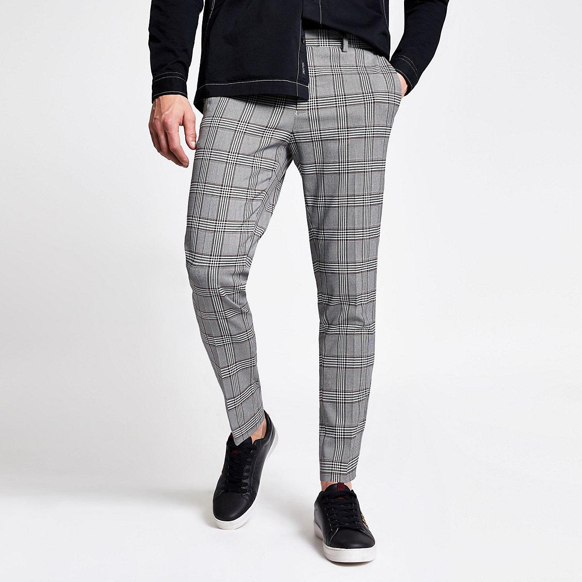 Grey check super skinny crop fit pants
