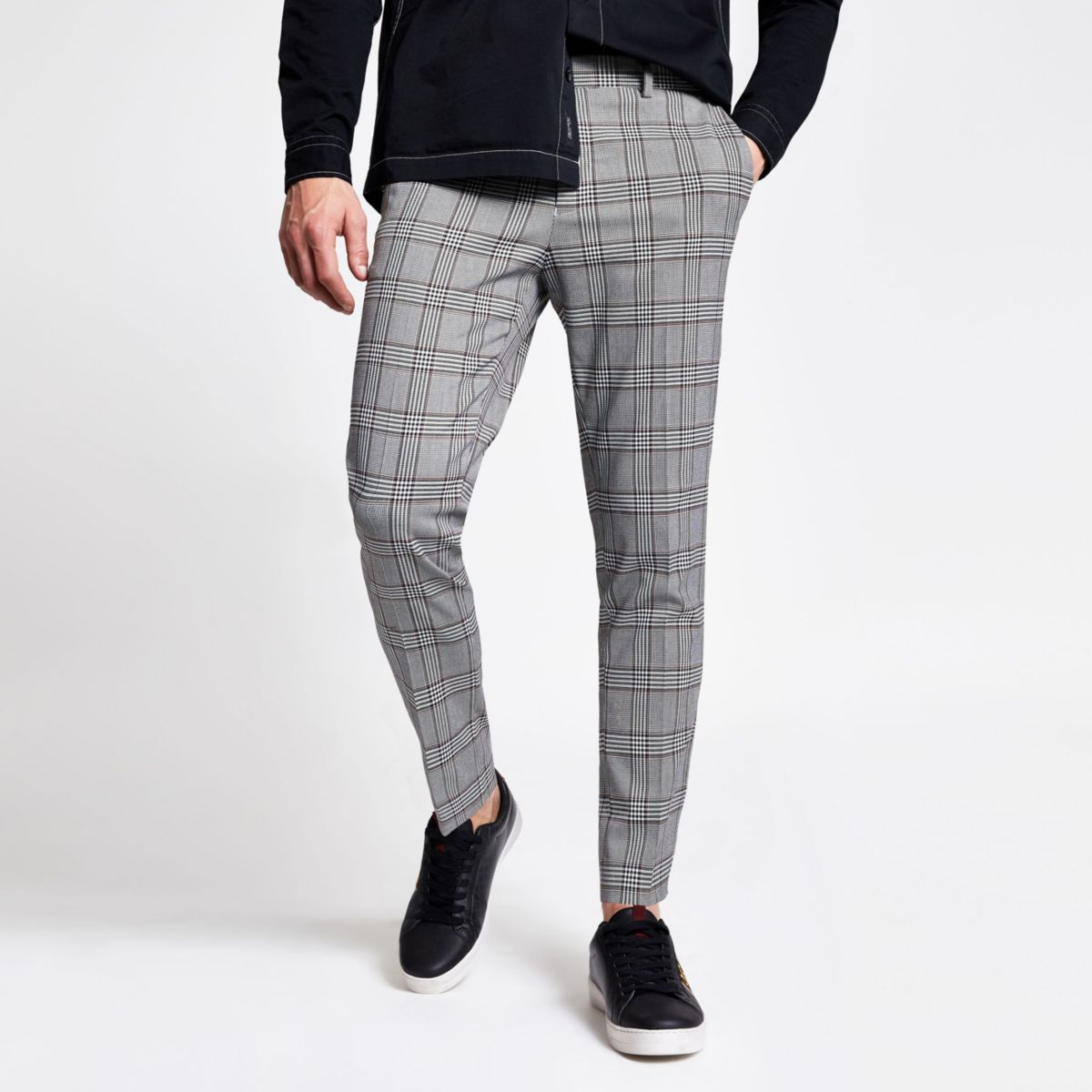 Grey check skinny fit smart crop trousers