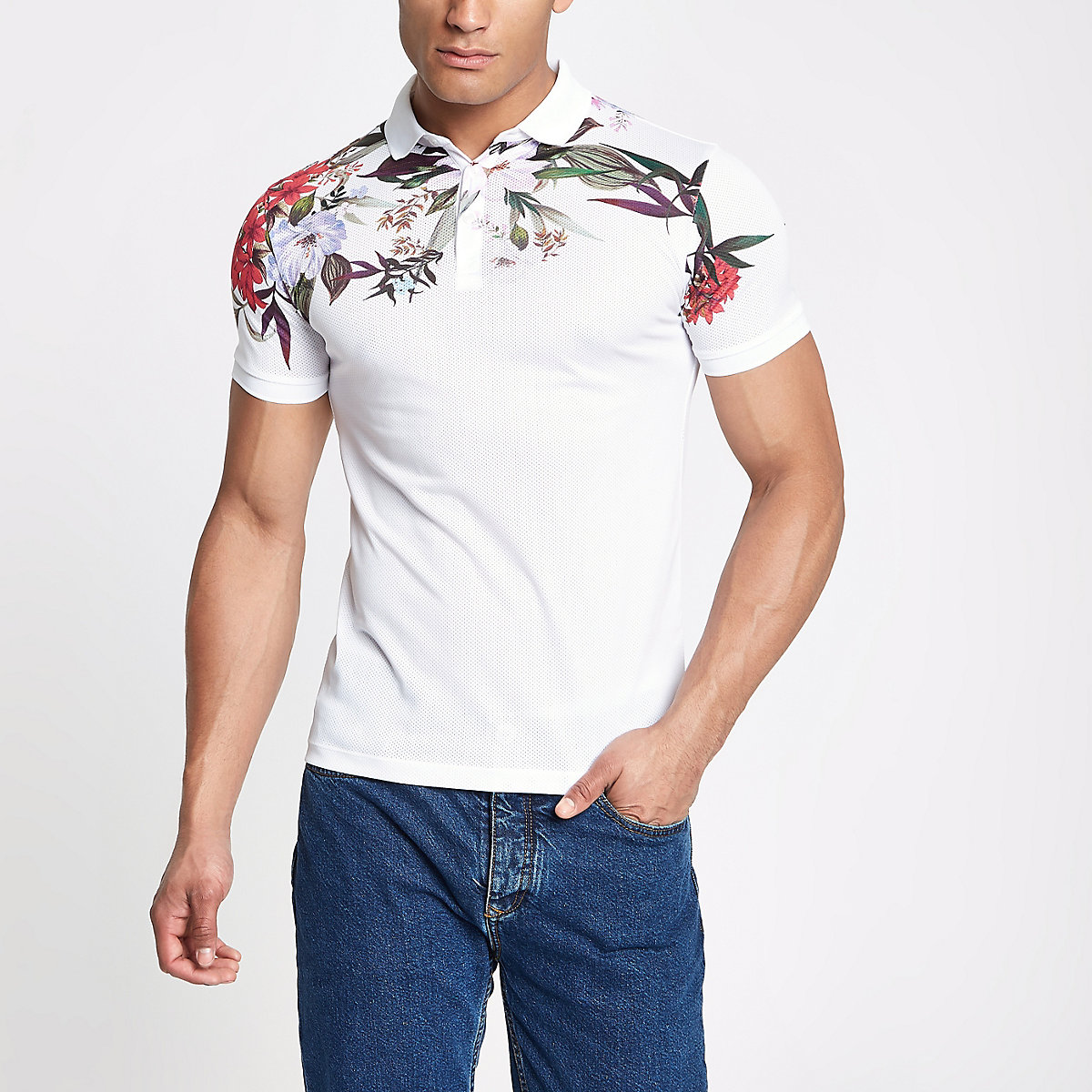 White muscle fit floral mesh polo shirt