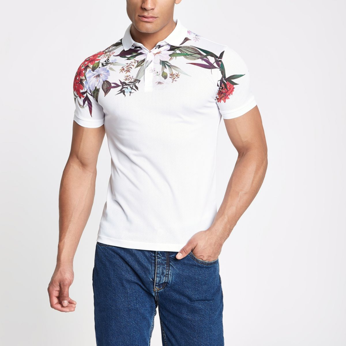 polo fit White mesh shirt floral muscle gfAqwF