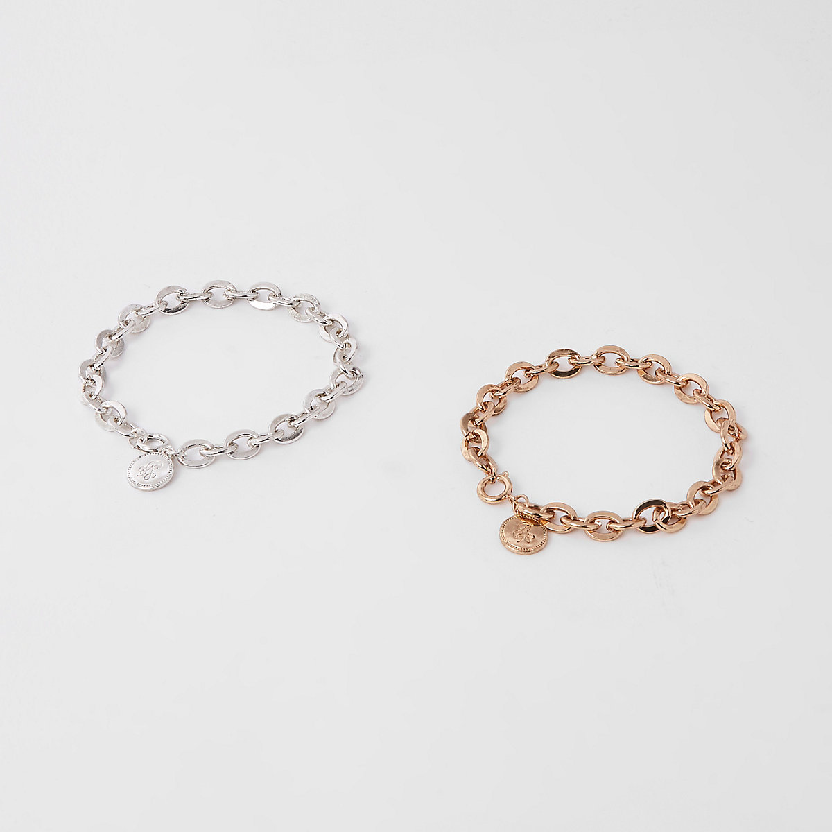 Silver tone RI chain bracelet pack