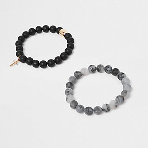 Black beaded matte bracelet pack