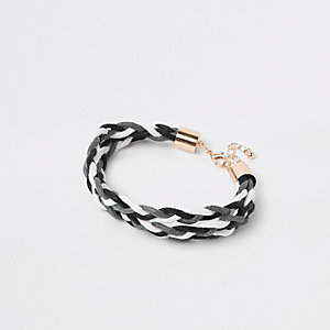 Bracelet tressé gris