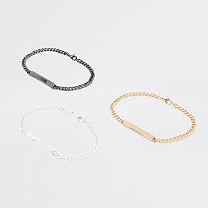 Lot de bracelets chaîne dont un gris