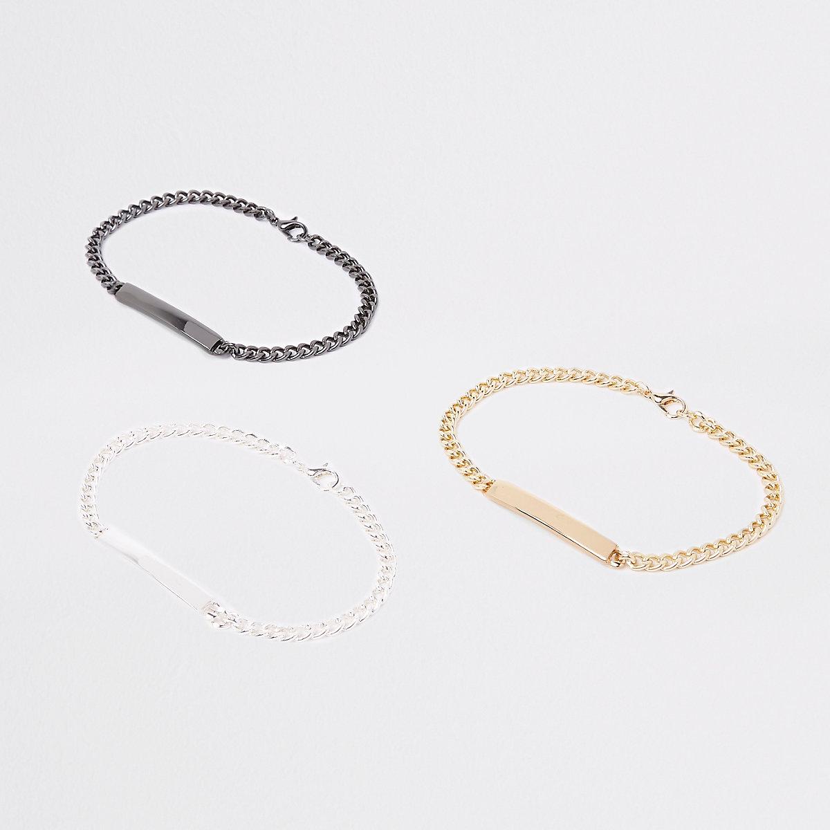 Grey chain bracelet pack