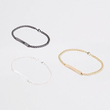 River Island Lot de bracelets chaîne dont un gris