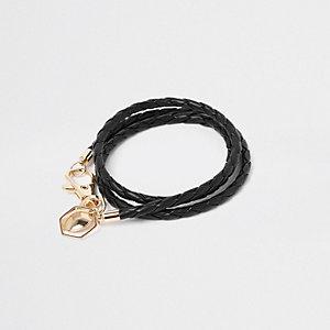 Zwarte geweven leren armband